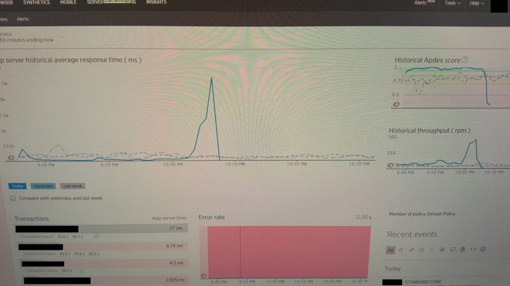Graph of server crashing ~10 minutes after taking it out of maintenance mode.