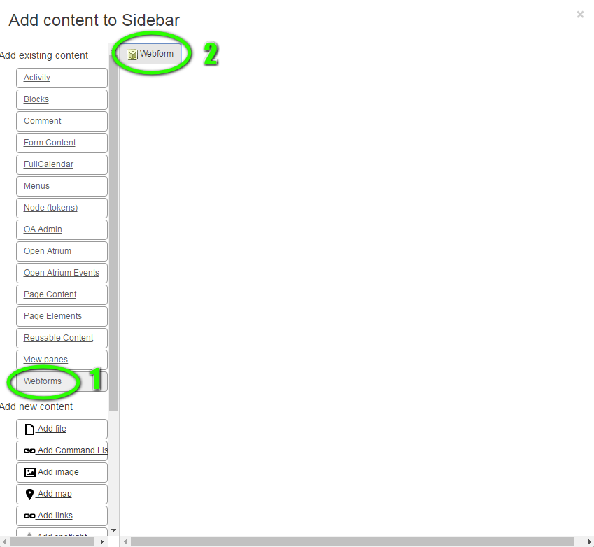 Webform content type selection process -- step 1 and 2